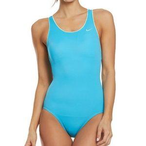 NikeWomen's Blue Solid Powerback Swimsuit L
